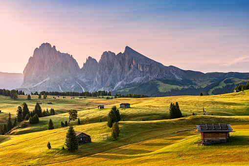 Alto Adige - Italy「Alpe di Siusi sunrise with Sassolungo or Langkofel Mountain Group in Background」:スマホ壁紙(16)