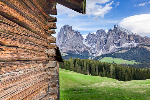 Chalet「Alpe di Siusi, in Springtime with Mount Schlern in South Tyrol, Italy」:スマホ壁紙(6)