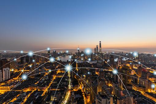 Urban Skyline「City network technology in Shanghai,China」:スマホ壁紙(10)