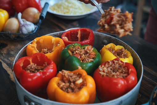 Tomato Sauce「Preparing Stuffed Bell Peppers with Ground Meat in Tomato Sauce」:スマホ壁紙(16)
