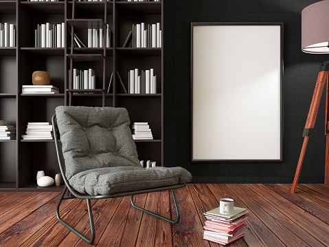 Art「Empty Frame on Living Rooms Wall with Library」:スマホ壁紙(6)