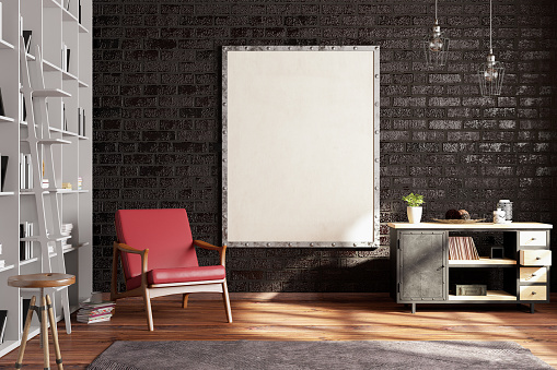 Template「Empty Frame on Living Rooms Wall with Library」:スマホ壁紙(1)