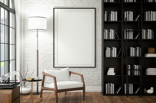 Black Color「Empty Frame on Living Rooms Wall with Library」:スマホ壁紙(2)