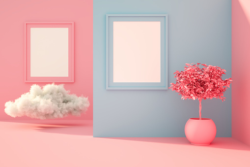 Frame - Border「3D Empty Frame in living room with sunlight and cloud」:スマホ壁紙(8)
