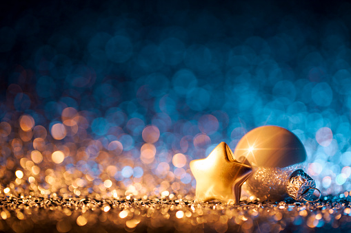 Christmas Lights「Christmas ornaments on defocused lights. Decorations Bokeh Blue Gold」:スマホ壁紙(2)