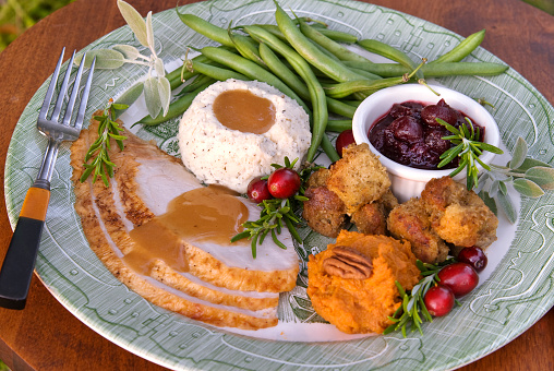 Mashed Potatoes「Christmas or Thanksgiving Roast Turkey Dinner Plate」:スマホ壁紙(13)
