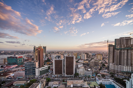 East Africa「Dar es Salaam Business District Cityscape High Angle View South」:スマホ壁紙(9)