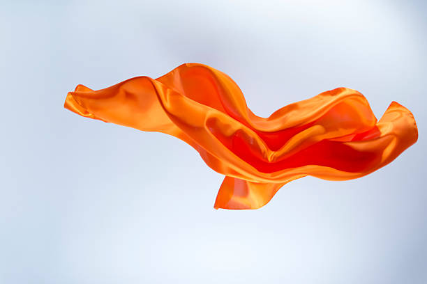 Floating orange silk on a bright background:スマホ壁紙(壁紙.com)