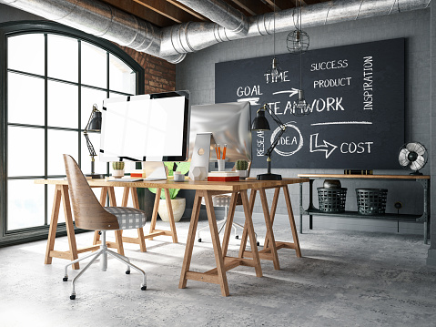 Teamwork「Cozy Office in an Industrial Interior」:スマホ壁紙(6)