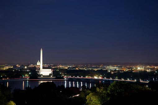 Obelisk「USA, Washington DC, Night skyline of city」:スマホ壁紙(17)