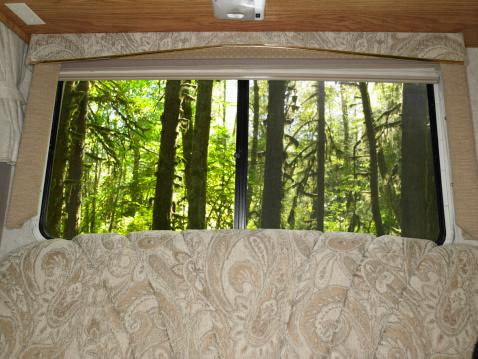 Hoh River Valley「USA, Washington, Hoh Rainforest, view through motor home window」:スマホ壁紙(12)