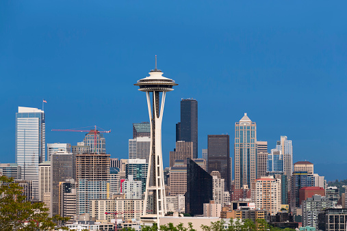 Seattle「USA, Washington State, skyline of Seattle with Space Needle」:スマホ壁紙(16)