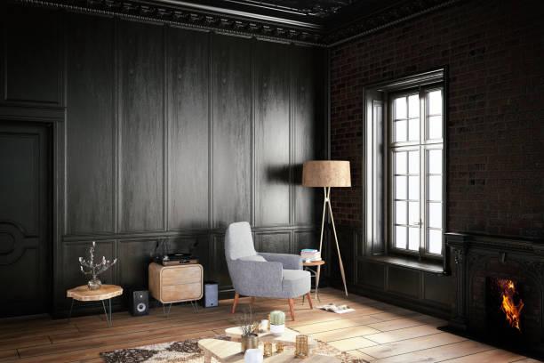 Black Interior with Armchair:スマホ壁紙(壁紙.com)