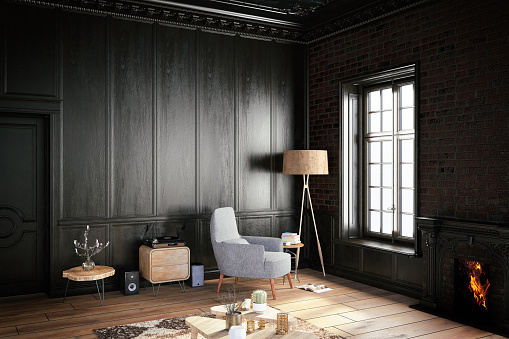 Wood Paneling「Black Interior with Armchair」:スマホ壁紙(8)