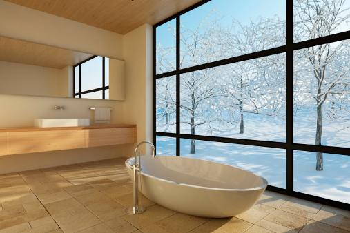 雪「モダンなバスルーム」:スマホ壁紙(3)