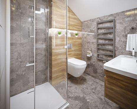 Hostel「Modern bathroom render」:スマホ壁紙(9)