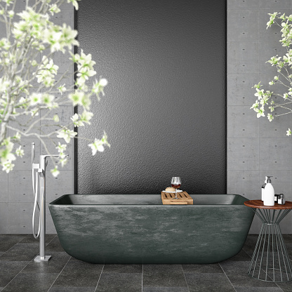 Health Spa「Modern Bathroom with Flowers」:スマホ壁紙(5)