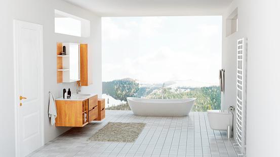 Denmark「Modern bathroom with bathtub and view of the mountains」:スマホ壁紙(14)