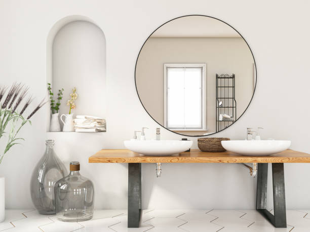 Modern Bathroom with Two Sinks and Mirror:スマホ壁紙(壁紙.com)
