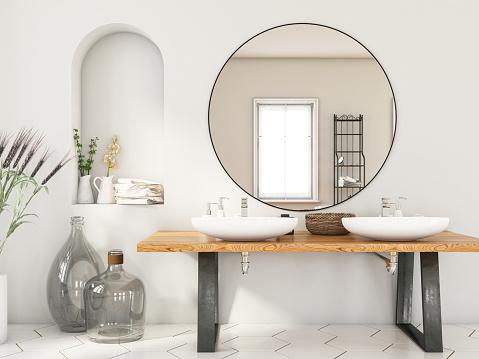Sink「Modern Bathroom with Two Sinks and Mirror」:スマホ壁紙(8)