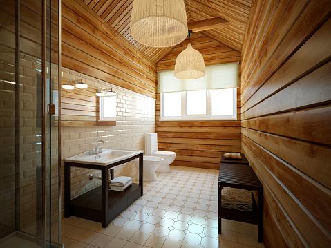 Wood Paneling「Modern bathroom」:スマホ壁紙(4)