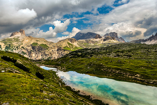 Alto Adige - Italy「View of the National Park Tre Cime di Lavaredo, South Tyrol. Location Auronzo,  Dramatic cloudy sky, Dolomites, European Alps, Italy,Europe」:スマホ壁紙(2)