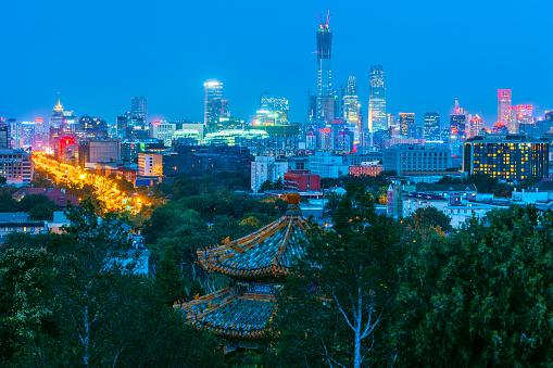寺「景山公園、中国、アジアから北京ビジネス センターのビュー」:スマホ壁紙(9)