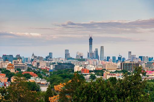 寺「景山公園、中国、アジアから北京ビジネス センターのビュー」:スマホ壁紙(8)