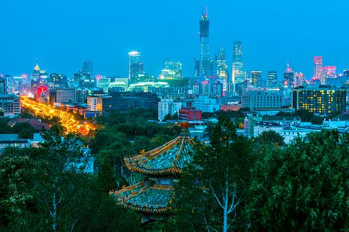 寺「景山公園、中国、アジアから北京ビジネス センターのビュー」:スマホ壁紙(7)