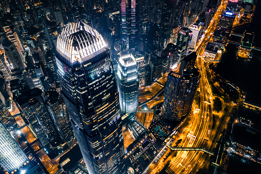 アジア大陸「夜の香港の眺め」:スマホ壁紙(17)