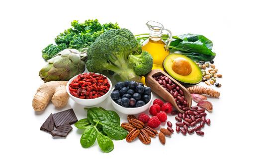 Garlic Clove「Group of vegan food rich in antioxidants on white background」:スマホ壁紙(18)