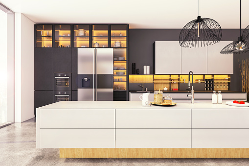 Open Plan「Large modern kitchen interior」:スマホ壁紙(16)