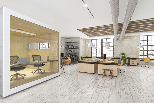 Ceiling「Large modern office space with cubicle」:スマホ壁紙(7)