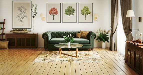 Green Color「Stylish Living Room」:スマホ壁紙(2)