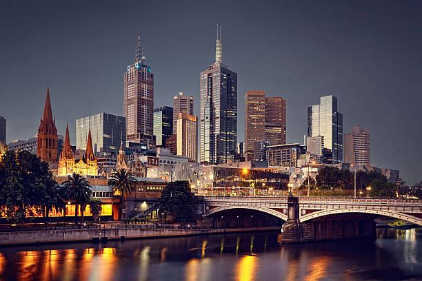 Melbourne City at night:スマホ壁紙(壁紙.com)