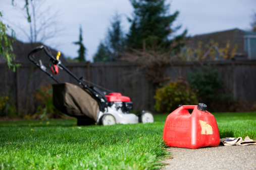 Protective Glove「Gasoline Can With Mower In Background」:スマホ壁紙(0)