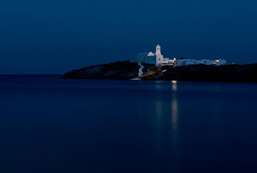 Aegean Sea「The Chrysopiyi Monsastery in Southeastern Sifnos at dusk; Sifnos, Cyclades, Greek Islands, Greece」:スマホ壁紙(1)