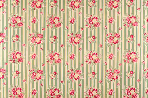 Floral Pattern「Francine Stripe Antique Floral Fabric」:スマホ壁紙(10)