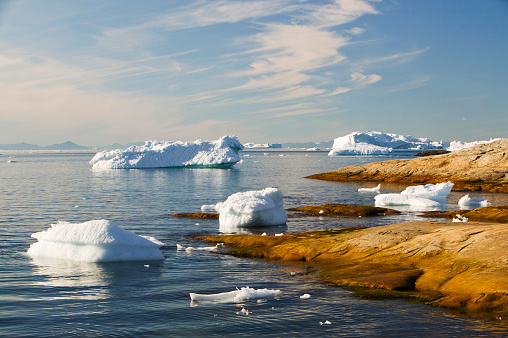 Greenland「Icebergs from the Jacobshavn glacier or Sermeq Kujalleq drains 7% of the Greenland ice sheet and is the largest glacier outside of Antarctica. It calves enough ice in one day to supply New York with water for one year. It is one of the fastest moving glac」:スマホ壁紙(18)