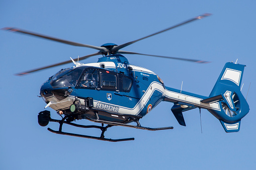 Emergency Services Occupation「French police/gendarmerie EC135 helicopter in flight over France.」:スマホ壁紙(15)