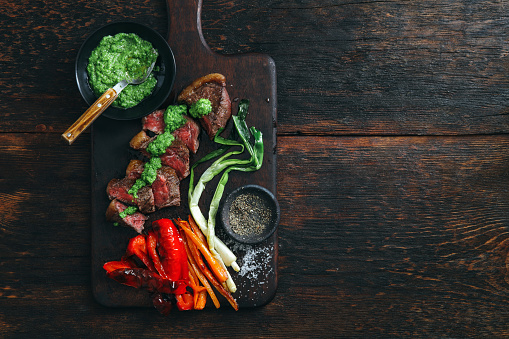 Char-Grilled「Brazilian picanha steak with fresh herb sauce and grilled vegetables」:スマホ壁紙(1)