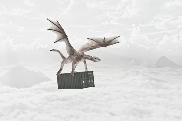 Flying dragon carrying cargo container in clouds:スマホ壁紙(壁紙.com)