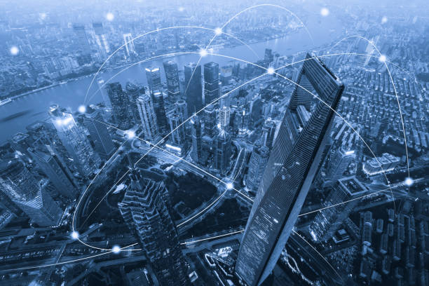 Computer network connection modern city future internet technology:スマホ壁紙(壁紙.com)