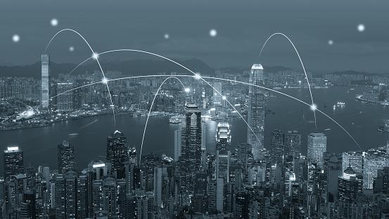 Internet of Things「Computer network connection modern city future internet technology」:スマホ壁紙(5)