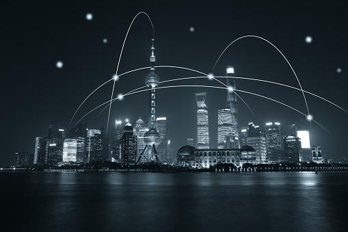 Data Center「Computer network connection modern city future internet technology」:スマホ壁紙(10)