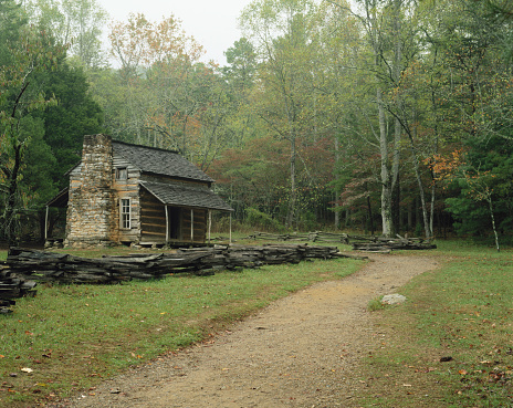Log Cabin「USA, Tennessee, Great Smoky Mountains National Park, John Oliver Cabin」:スマホ壁紙(17)
