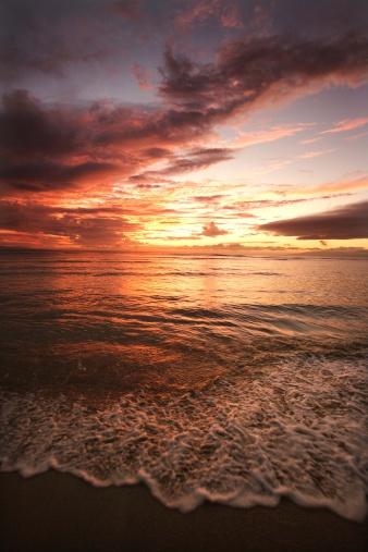 Kihei「Beach at sunset, Hawaii」:スマホ壁紙(9)