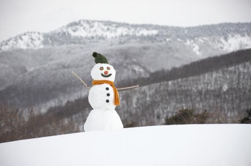 雪だるま「Snowman in snow」:スマホ壁紙(6)