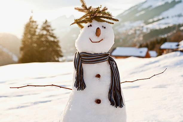 Snowman in snowy field:スマホ壁紙(壁紙.com)