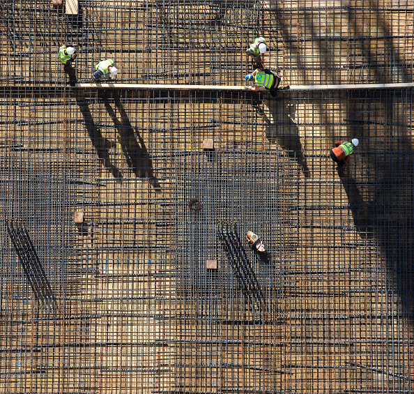 Construction Site「Rebar mesh set for formwork, aerial view」:写真・画像(2)[壁紙.com]